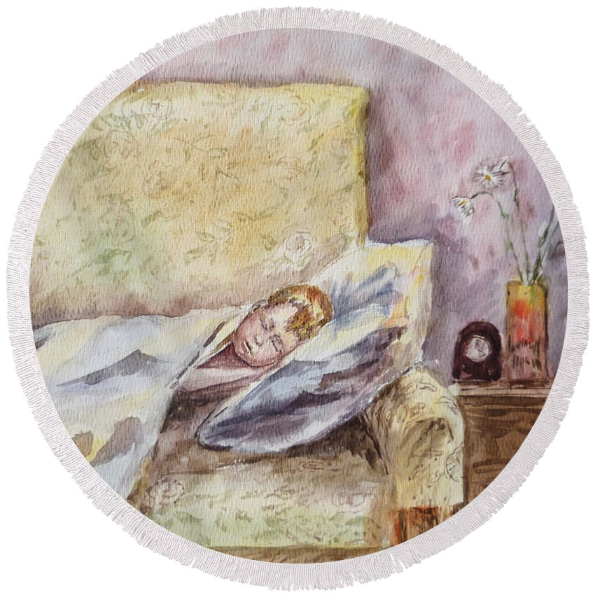 Toddler Round Beach Towel featuring the painting A Sleeping Toddler by Irina Sztukowski