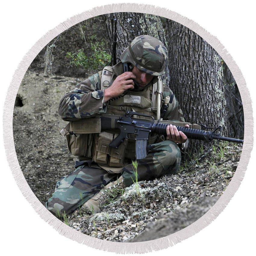 Operation Bearing Duel Round Beach Towel featuring the photograph A Soldier Communicates His Position by Stocktrek Images