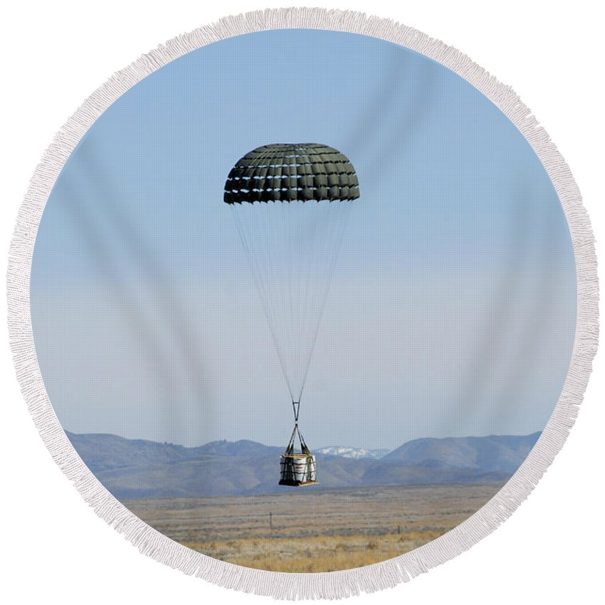 Copy Space Round Beach Towel featuring the photograph A Standard Container Delivery System by Stocktrek Images