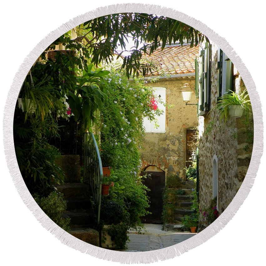 Provence Round Beach Towel featuring the photograph A Sweet Little Street by Lainie Wrightson