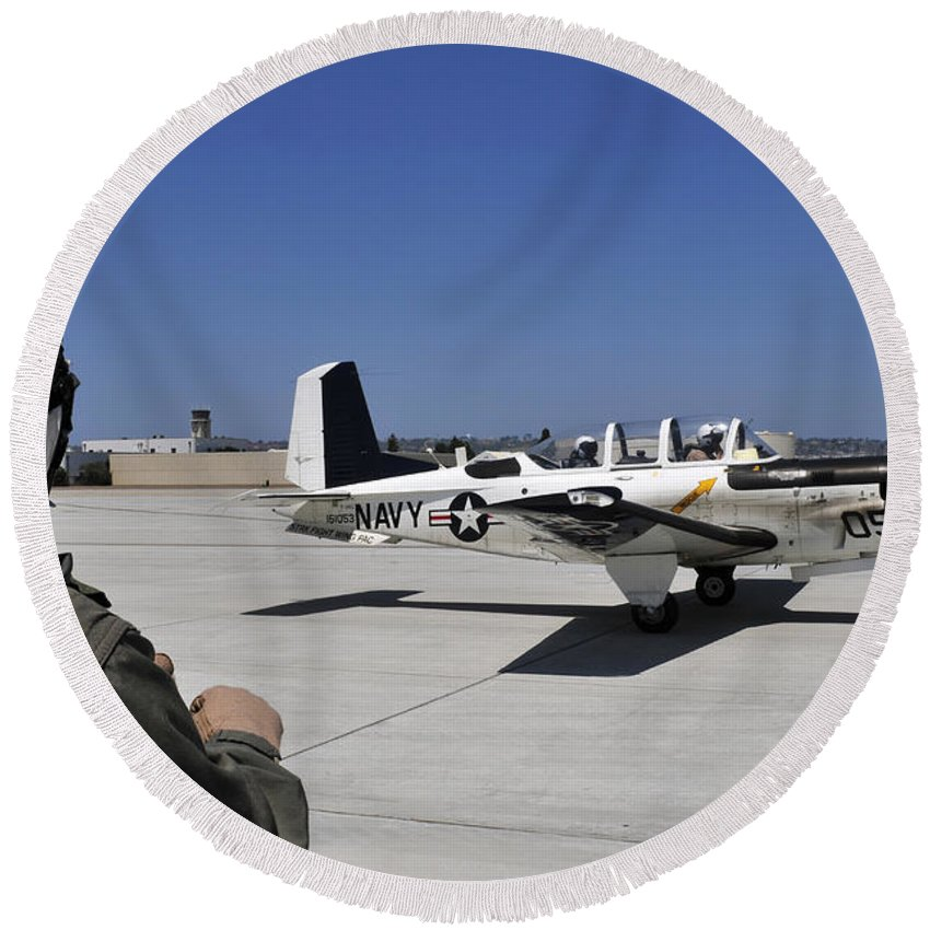Navy Round Beach Towel featuring the photograph A T-35c Training Aircraft Prepars by Stocktrek Images