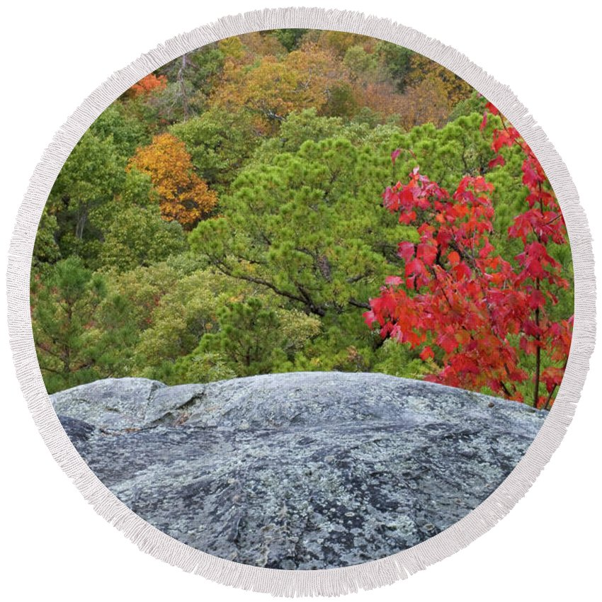 Ozarks Round Beach Towel featuring the photograph A Touch Of Fall by Steve Stuller