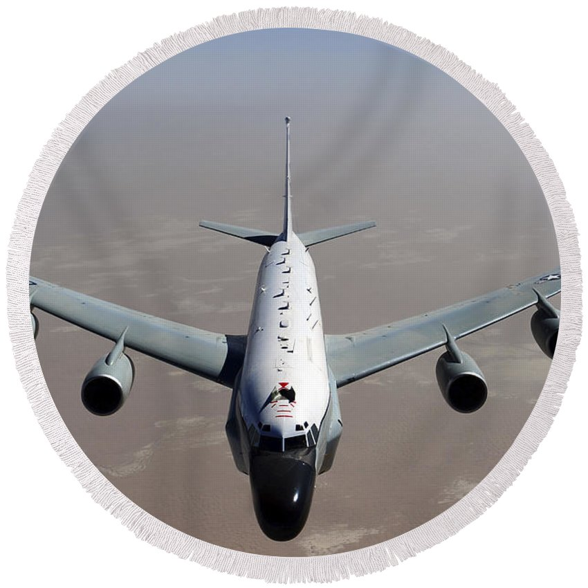 Aerial Refueling Round Beach Towel featuring the photograph A U.s. Air Force Rc-135vw Rivet Joint by Stocktrek Images