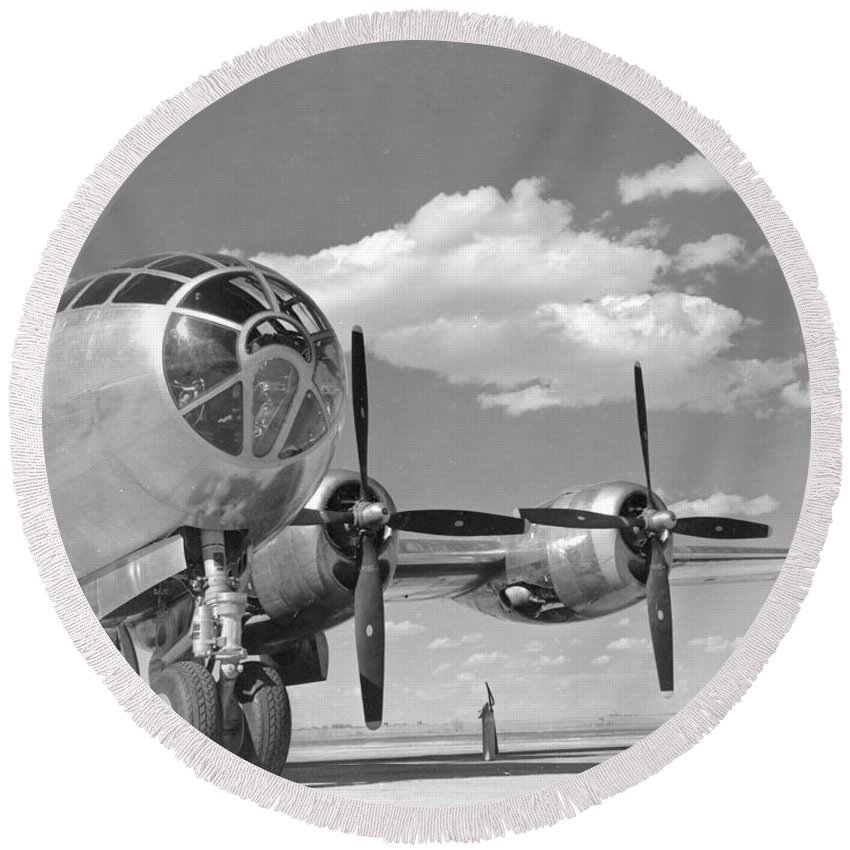 B-29 Round Beach Towel featuring the photograph A U.s. Army Air Forces B-29 by Stocktrek Images