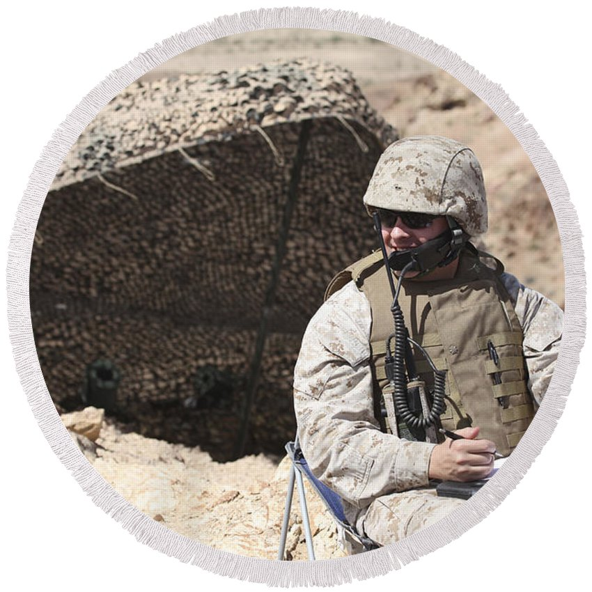 Men Round Beach Towel featuring the photograph A U.s. Marine Communicates With Close by Stocktrek Images