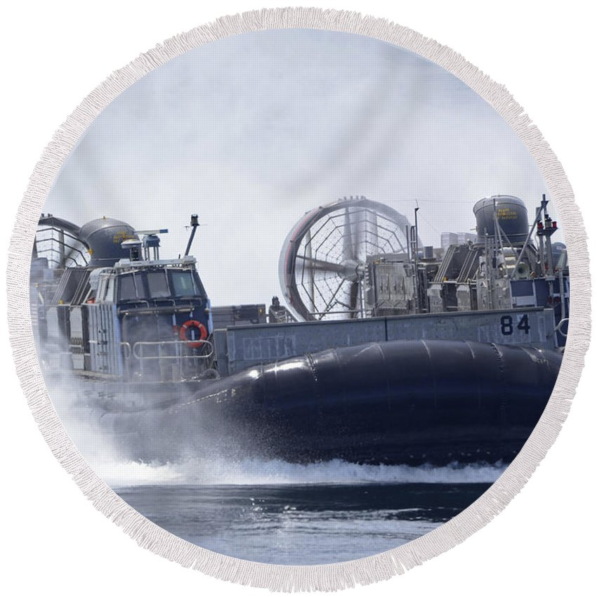 Military Round Beach Towel featuring the photograph A U.s. Marine Corps Landing Craft Air by Stocktrek Images