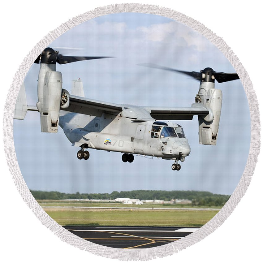 Environment Round Beach Towel featuring the photograph A U.s. Marine Corps Mv-22 Osprey Lifts by Stocktrek Images