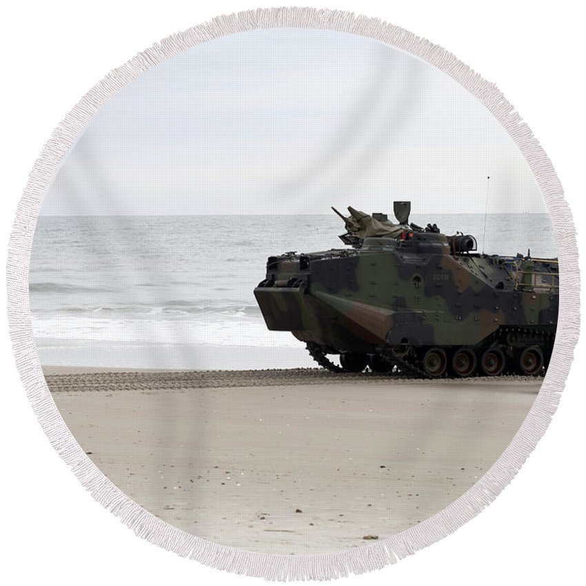 Exercise Bold Alligator Round Beach Towel featuring the photograph A U.s. Marine Guides An Amphibious by Stocktrek Images