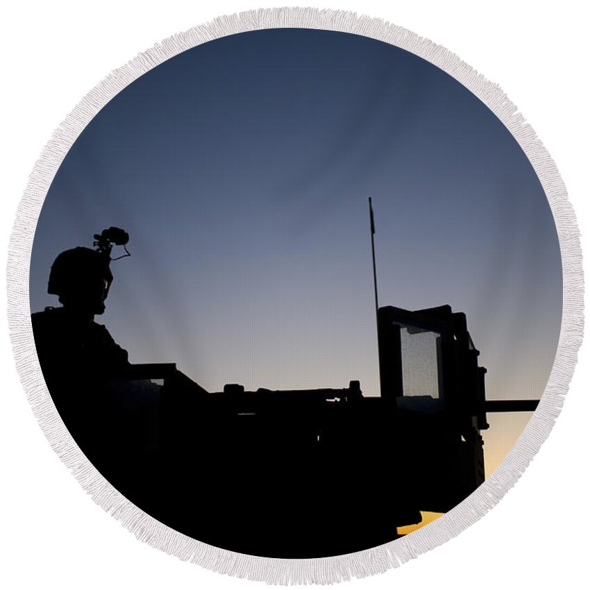 Camp Pendleton Round Beach Towel featuring the photograph A U.s. Marine Keeps Watch by Stocktrek Images
