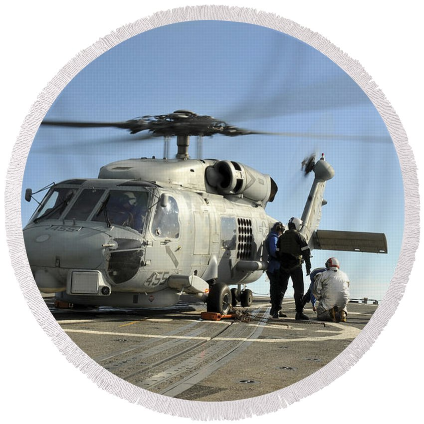 Southern Seas 2011 Round Beach Towel featuring the photograph A U.s. Navy Sh-60b Seahawk Helicopter by Stocktrek Images