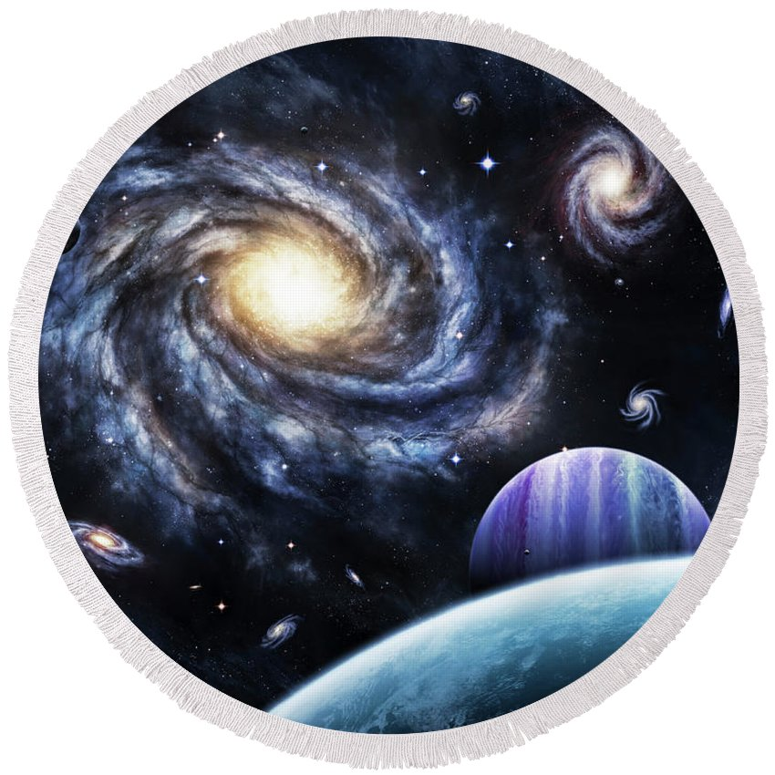 Artwork Round Beach Towel featuring the digital art A View To A Nearby Galaxy From A Gas by Brian Christensen
