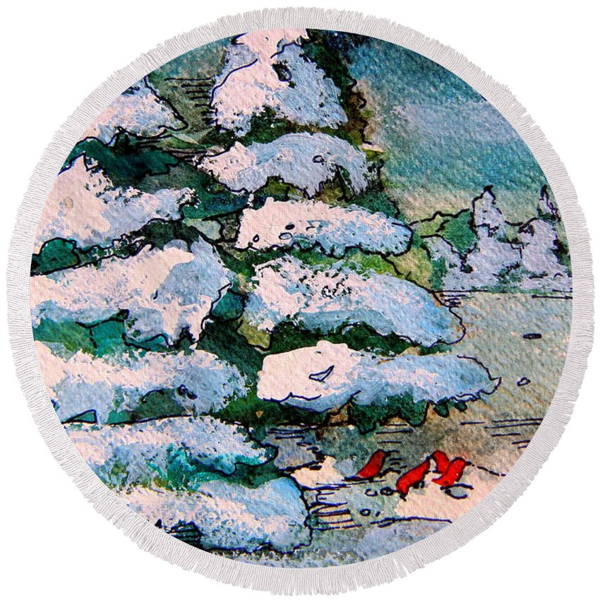 Christmas Round Beach Towel featuring the painting A Winter Feast by Mindy Newman