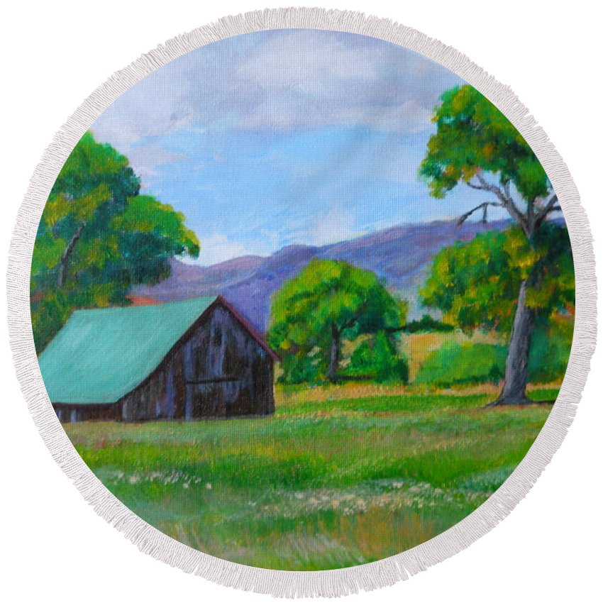 Barns Round Beach Towel featuring the painting Abandoned Barn by Michael Brennan