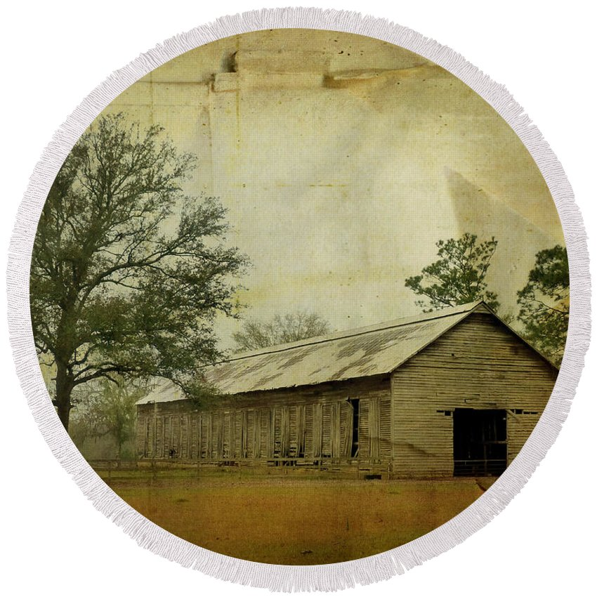 Old Round Beach Towel featuring the photograph Abandoned Tobacco Barn by Carla Parris