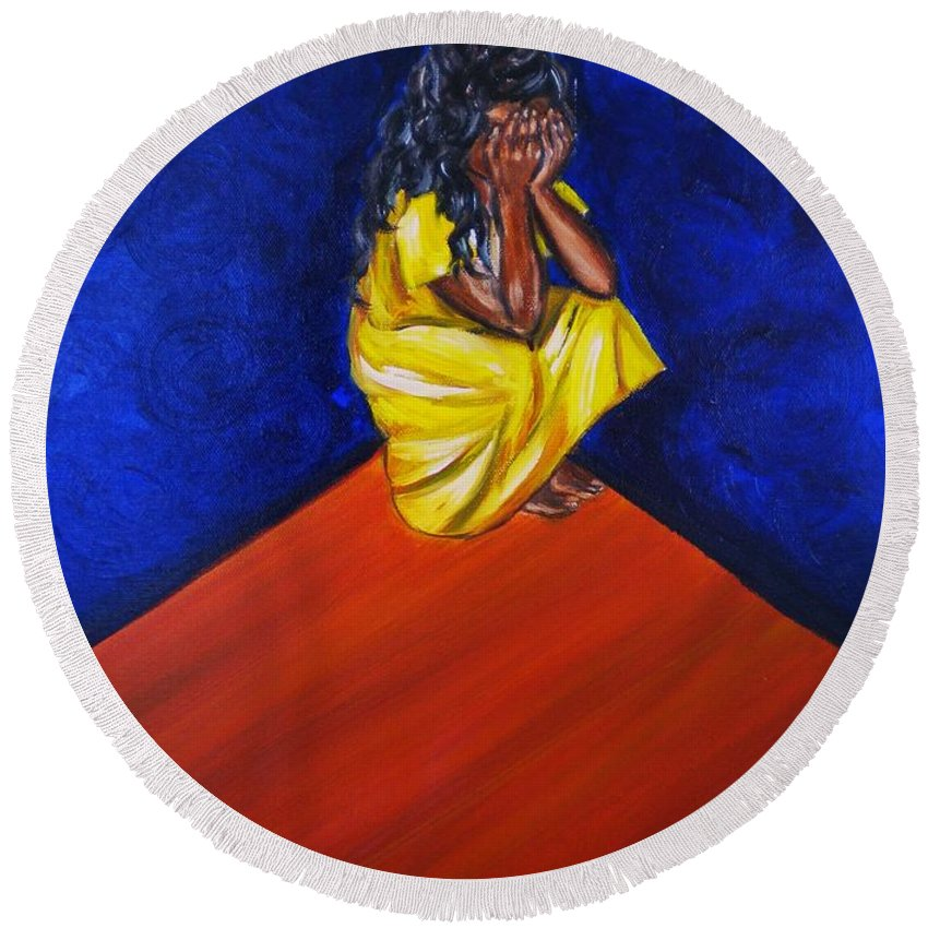 Fears Round Beach Towel featuring the painting Abandono by Yesi Casanova