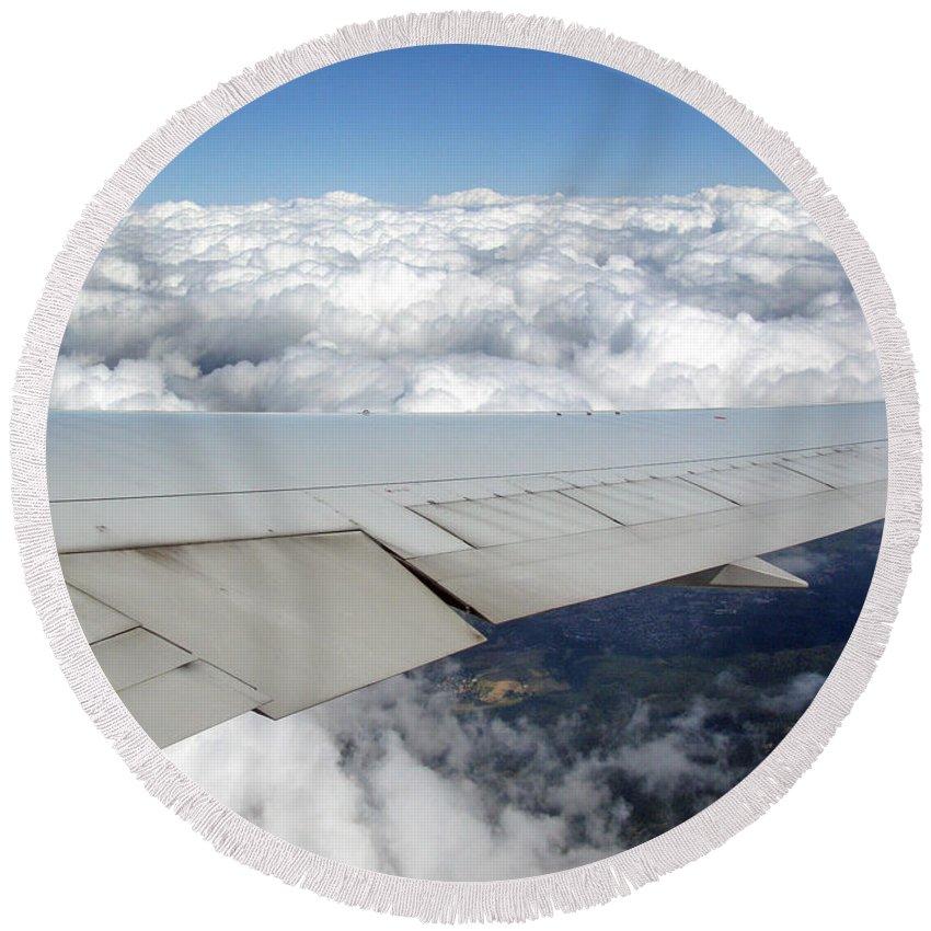 Transportation Round Beach Towel featuring the photograph Above The Clouds by Ausra Huntington nee Paulauskaite