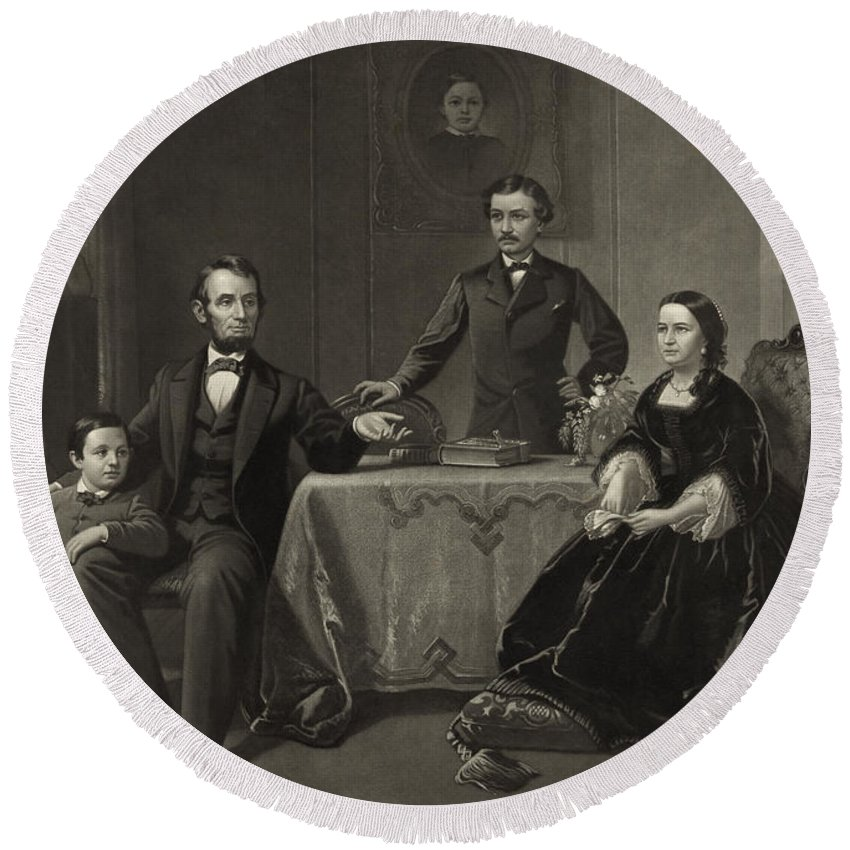 abraham Lincoln Round Beach Towel featuring the photograph Abraham Lincoln And Family by International Images