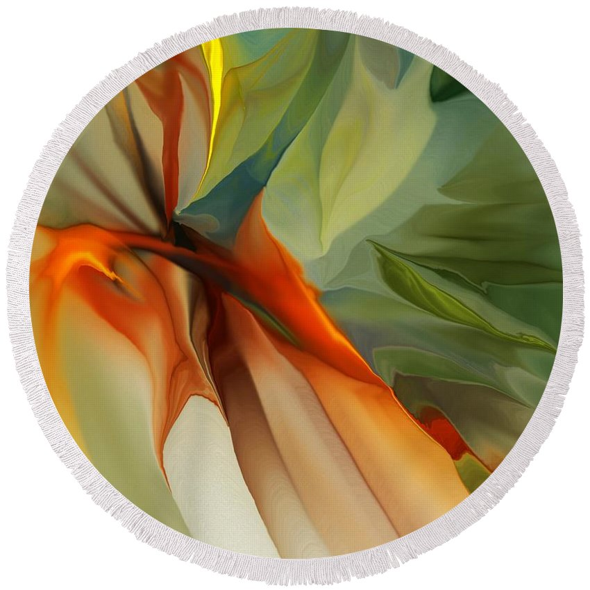 Fin Art Round Beach Towel featuring the digital art Abstract 021412a by David Lane