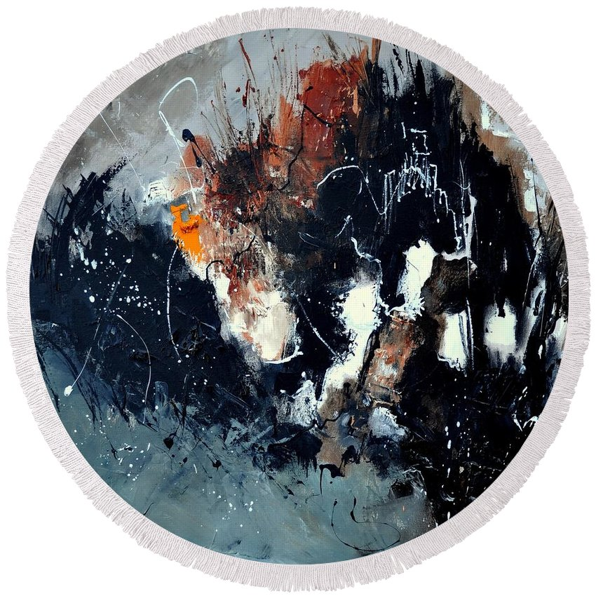 Abstract Round Beach Towel featuring the painting Abstract 8811114 by Pol Ledent