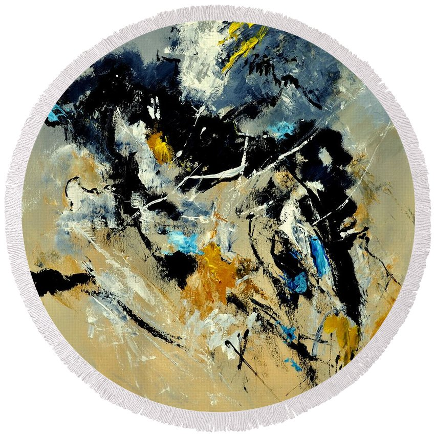 Abstract Round Beach Towel featuring the painting Abstract 8821011 by Pol Ledent