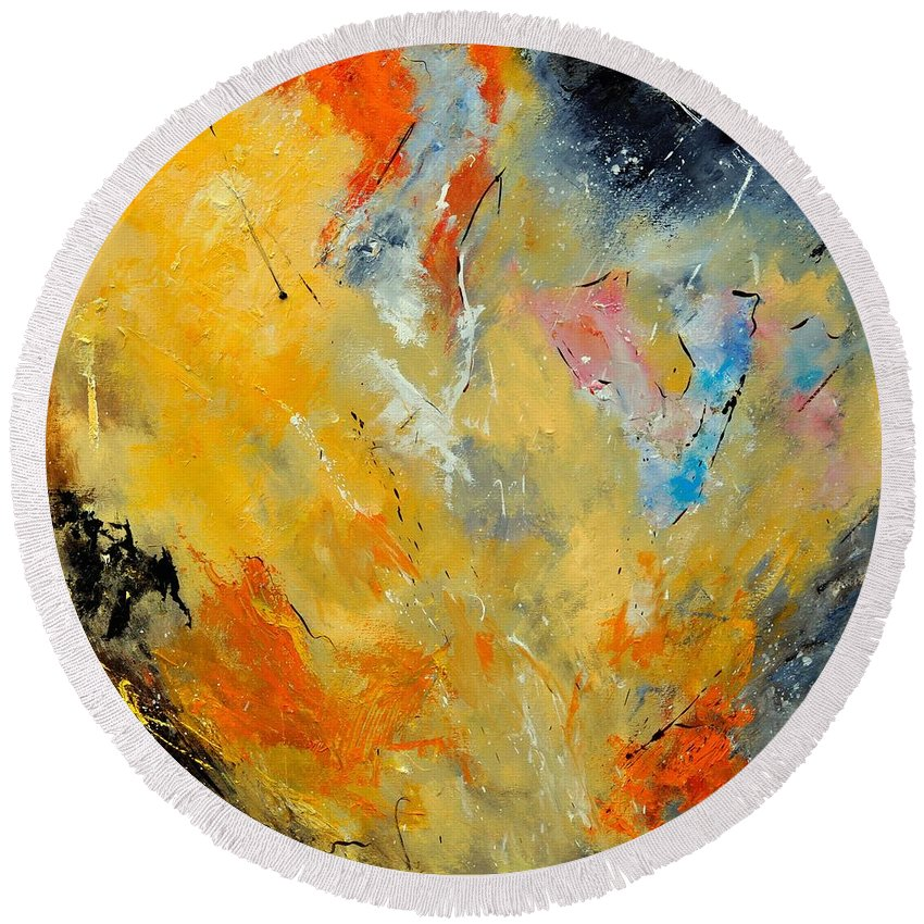Abstract Round Beach Towel featuring the painting Abstract 8821012 by Pol Ledent