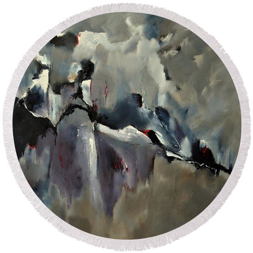 Abstract Round Beach Towel featuring the painting Abstract 8821205 by Pol Ledent