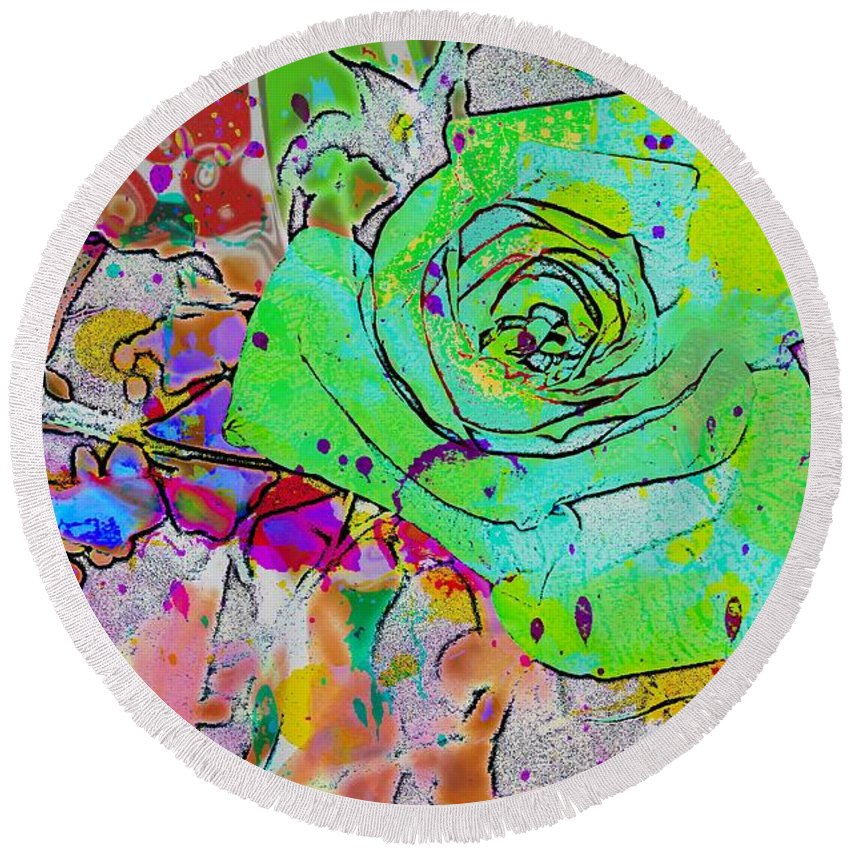 Abstract Rose Round Beach Towel featuring the digital art Abstract Childlike Rose by Barbara Griffin