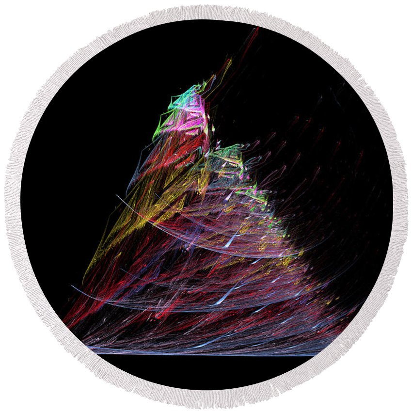 Abstract Round Beach Towel featuring the digital art Abstract Christmas Tree 1 by Russell Kightley