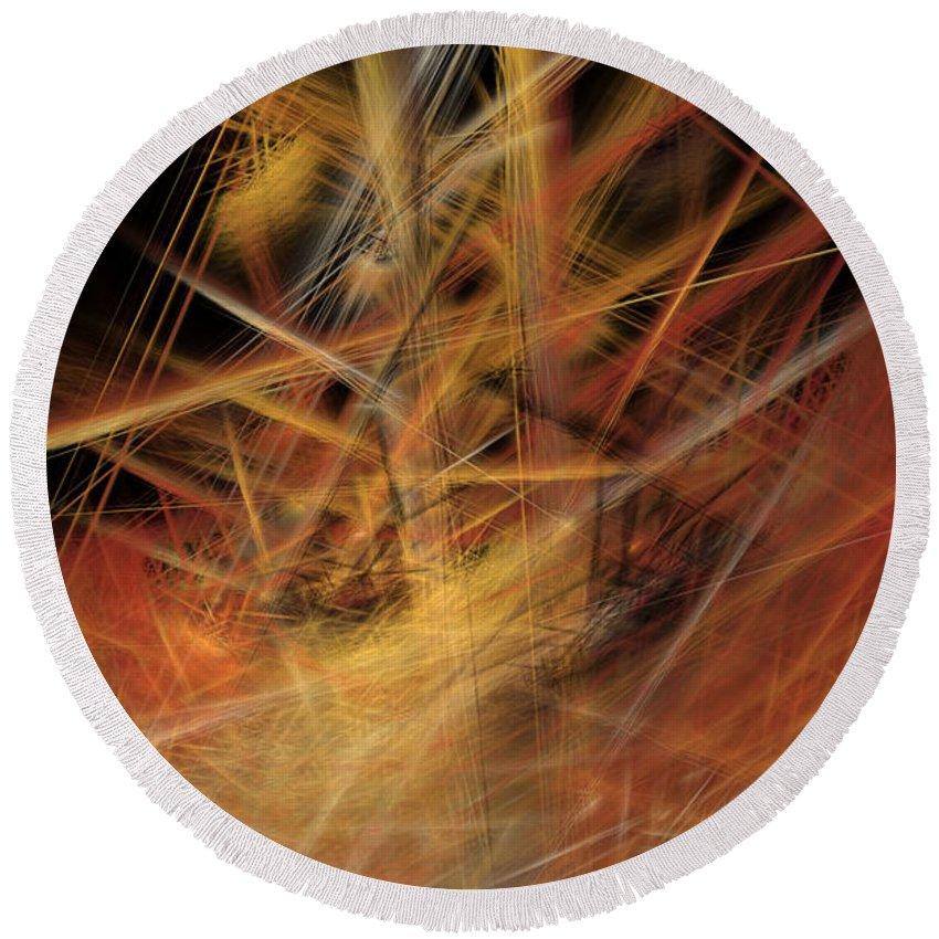 Abstract Round Beach Towel featuring the digital art Abstract Crisscross by Deborah Benoit
