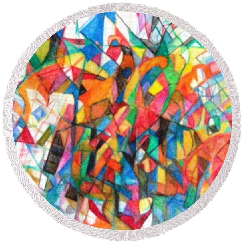 Abstract Art Round Beach Towel featuring the drawing Simchas Torah 6 by David Baruch Wolk