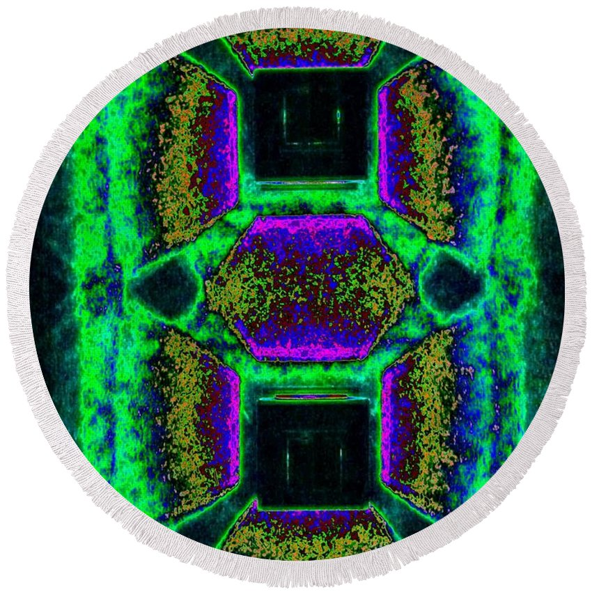 Abstract Fusion Round Beach Towel featuring the digital art Abstract Fusion 139 by Will Borden