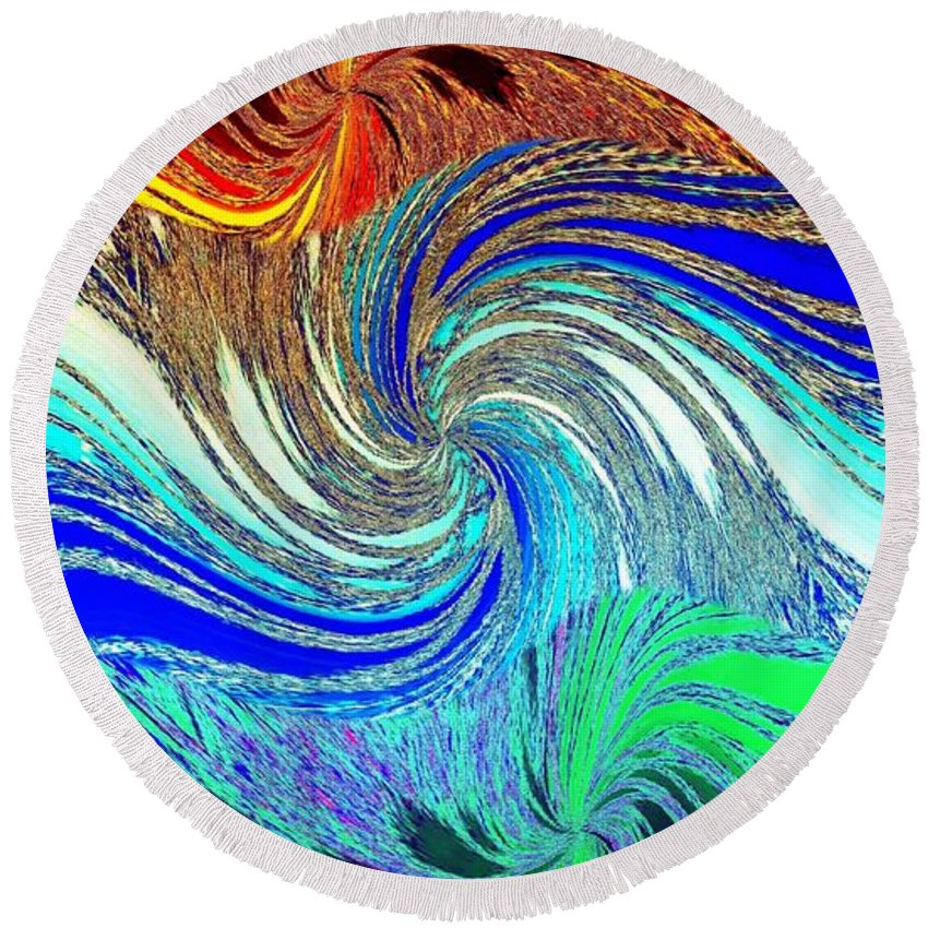 Abstract Fusion Round Beach Towel featuring the digital art Abstract Fusion 159 by Will Borden