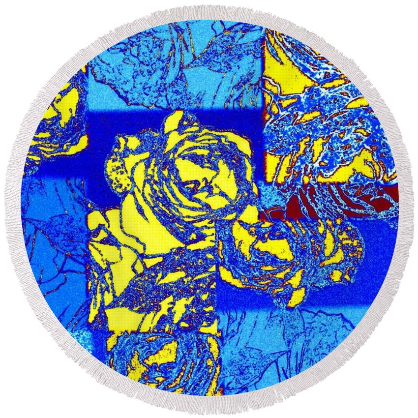 Abstract Fusion Round Beach Towel featuring the digital art Abstract Fusion 22 by Will Borden