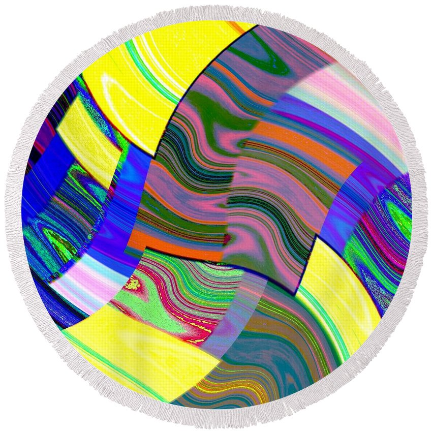 Abstract Fusion Round Beach Towel featuring the digital art Abstract Fusion 31 by Will Borden