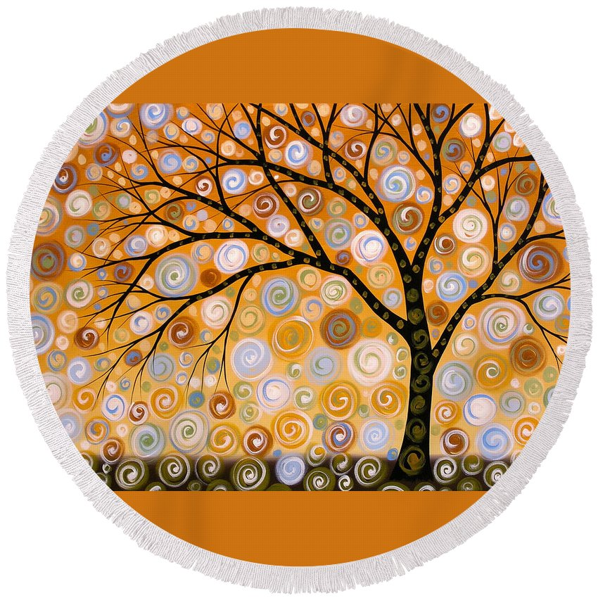 Nature Round Beach Towel featuring the painting Abstract Modern Tree Landscape Dreams Of Gold By Amy Giacomelli by Amy Giacomelli