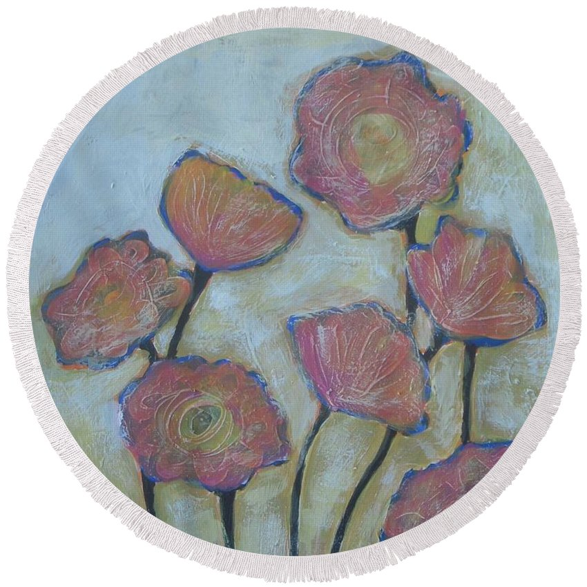 Abstract Round Beach Towel featuring the painting California Poppies by Vesna Antic