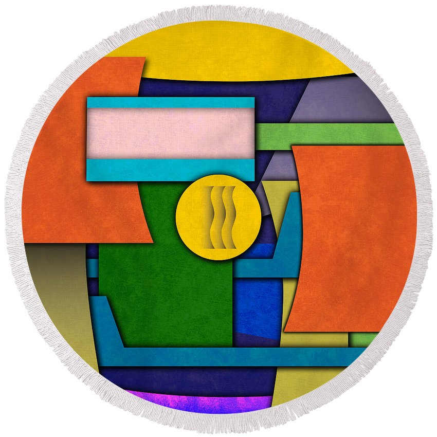 Modern Art Round Beach Towel featuring the digital art Abstract Shapes Color One by Gary Grayson