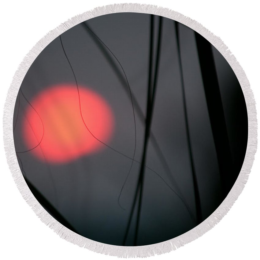 Sunset Round Beach Towel featuring the photograph Abstract Sunset by Christine Stonebridge