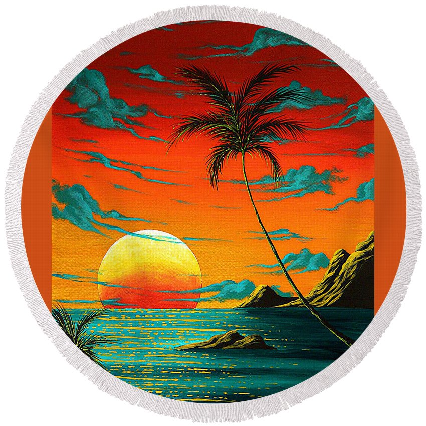 Abstract Round Beach Towel featuring the painting Abstract Surreal Tropical Coastal Art Original Painting Tropical Burn By Madart by Megan Duncanson