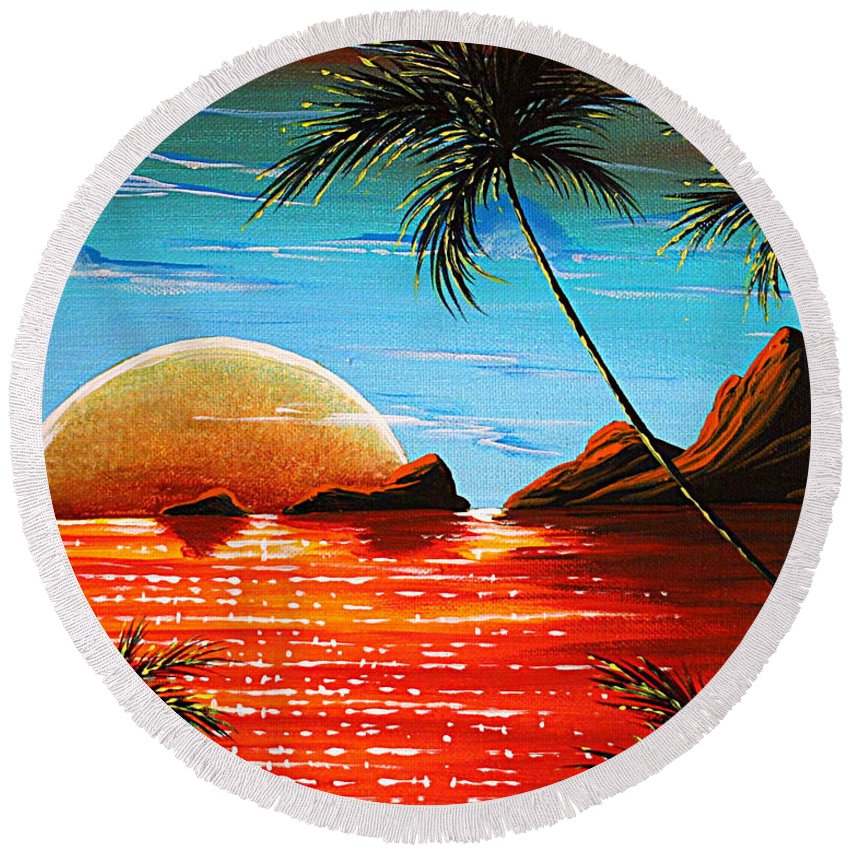 Abstract Round Beach Towel featuring the painting Abstract Surreal Tropical Coastal Art Original Painting Tropical Fusion By Madart by Megan Duncanson