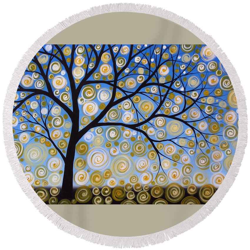 Tree Round Beach Towel featuring the painting Abstract Tree Nature Original Painting Starry Starry By Amy Giacomelli by Amy Giacomelli