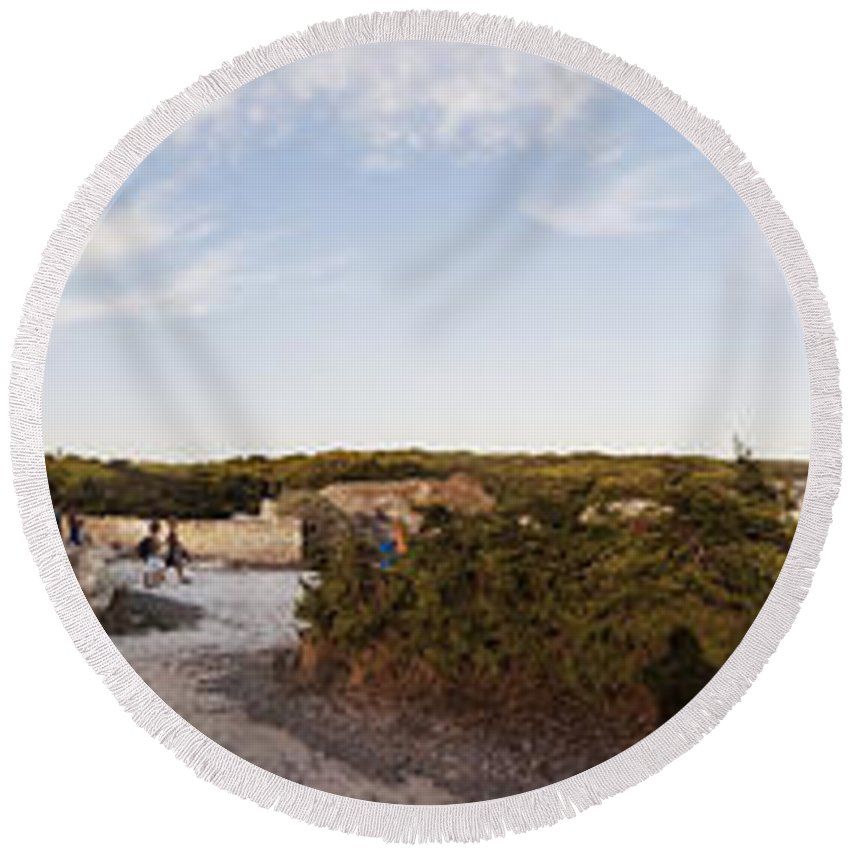 Panoramica Round Beach Towel featuring the photograph Access To The Beach Of Es Trenc by Agusti Pardo Rossello