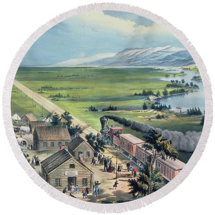 Across The Continent: 'westward The Course Of Empire Takes It's Way' Round Beach Towel featuring the painting Across The Continent by Currier and Ives