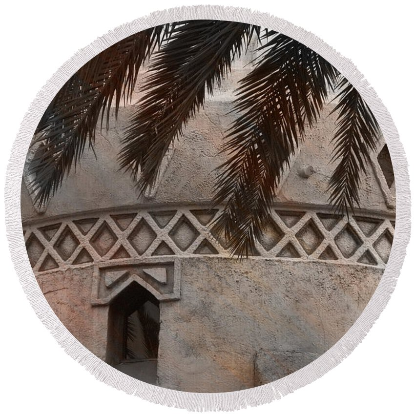 Palm Tree Round Beach Towel featuring the photograph Adelita's Attic by Trish Tritz