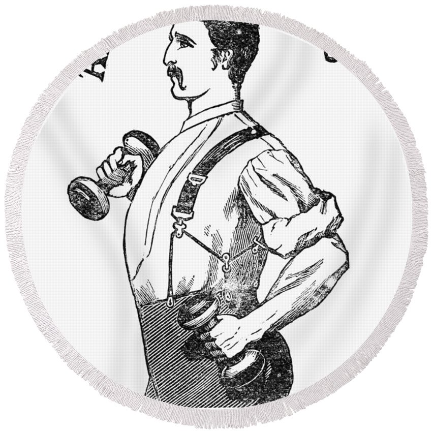 1883 Round Beach Towel featuring the photograph Advertisement: Suspenders by Granger