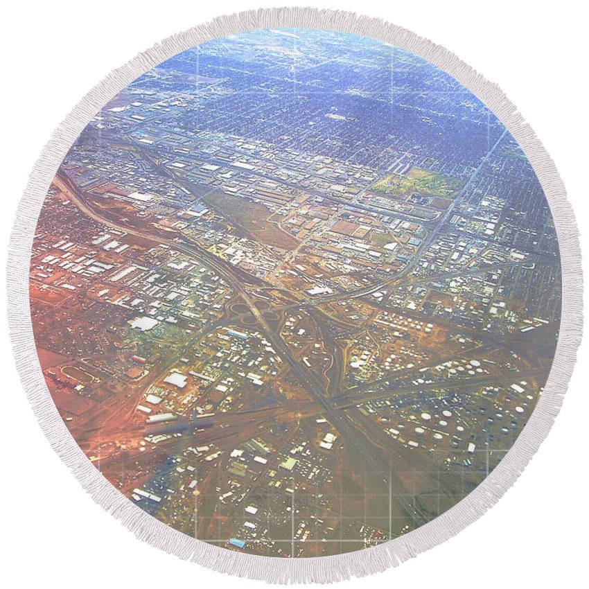 Aerial Round Beach Towel featuring the photograph Aerial Graph by Anthony Wilkening
