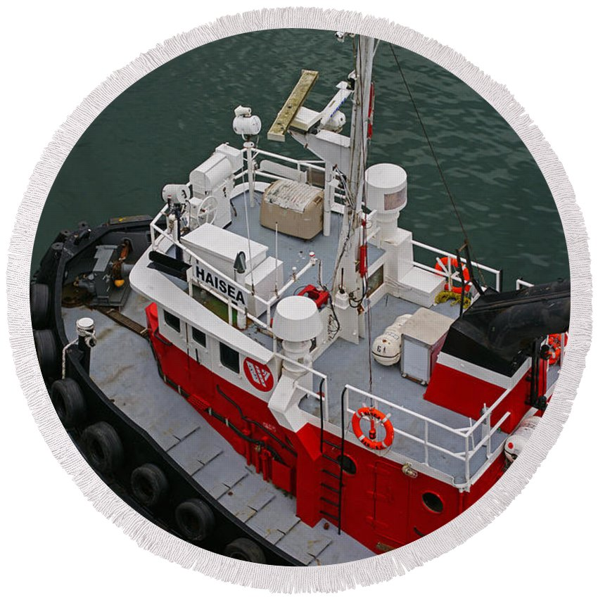 Boats Round Beach Towel featuring the photograph Aerial View Of Red Tug by Randy Harris