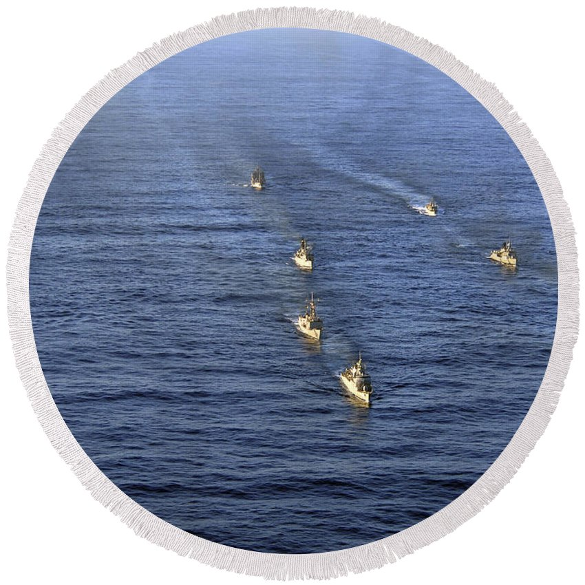 Unitas 52 Round Beach Towel featuring the photograph Aerial View Of Ships In Formation by Stocktrek Images