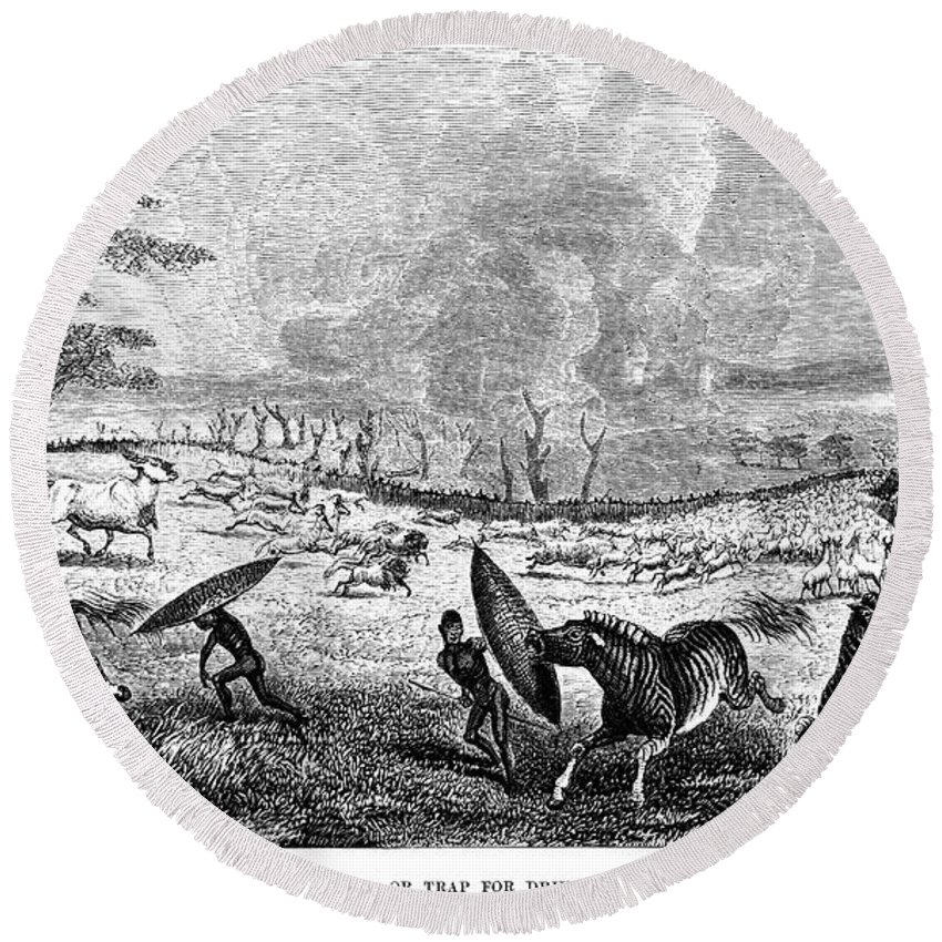 1857 Round Beach Towel featuring the photograph Africa: Hunting by Granger