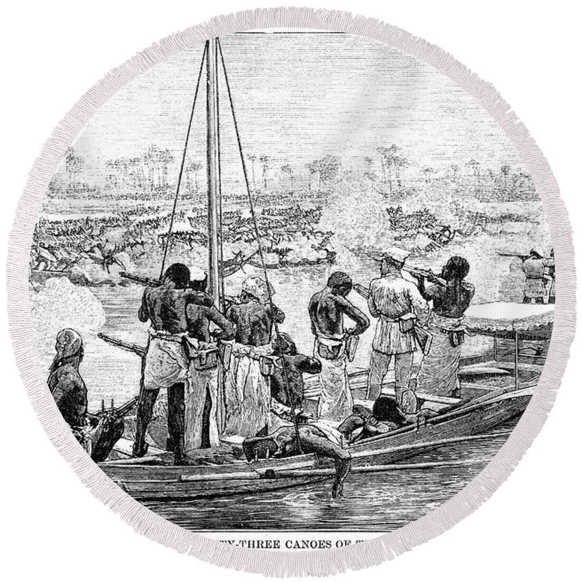1879 Round Beach Towel featuring the photograph Africa: Pirates by Granger